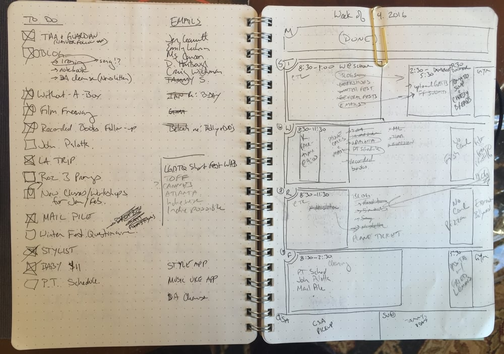Here's what my notebook looked like last week. Monday was a school day off so I actually started on Tuesday.