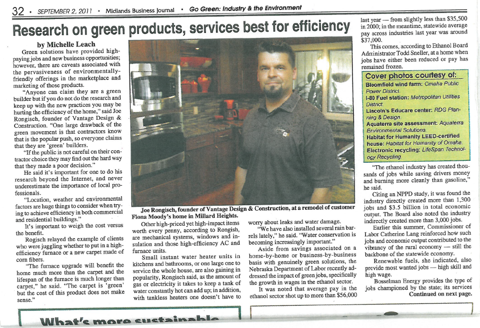 Vantage Design & Construction Remodel Project featured in the Midlands Business Journal