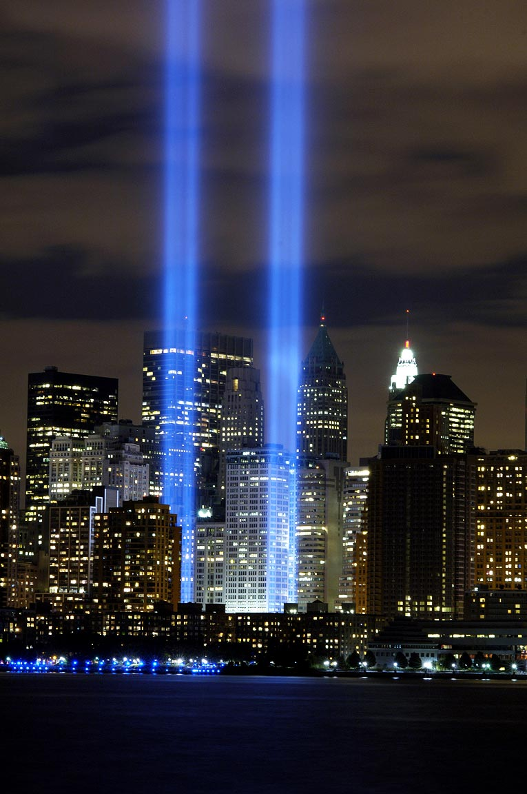 The very powerful, yearly Tribute in Lights from the WTC. It is one of the most beautiful sights and traditions of this City.