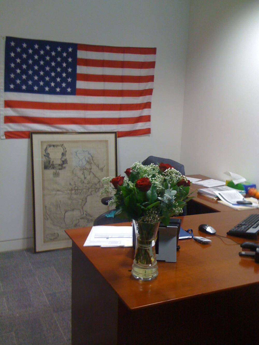 my old office - making sure everyone knew I am American!