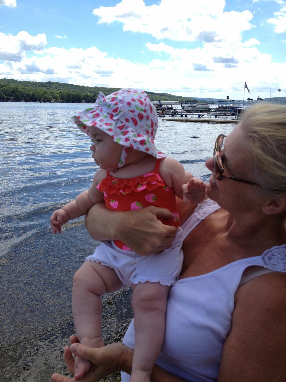 Nana and baby Bug at the lake last summer