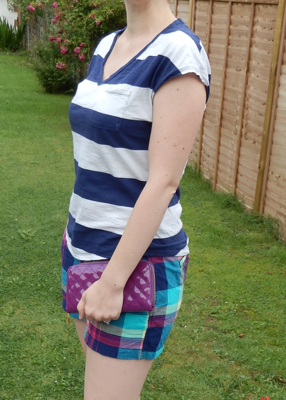 Tee: Old Navy (similar) | Shorts: Old Navy (similar) | Shoes: Converse (similar) | Clutch: a little shop in Rochester, Kent
