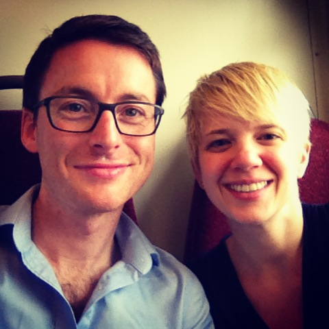 Our pre-embassy selfie on the train into London. Tired smiles from being up late organizing all of our documents!