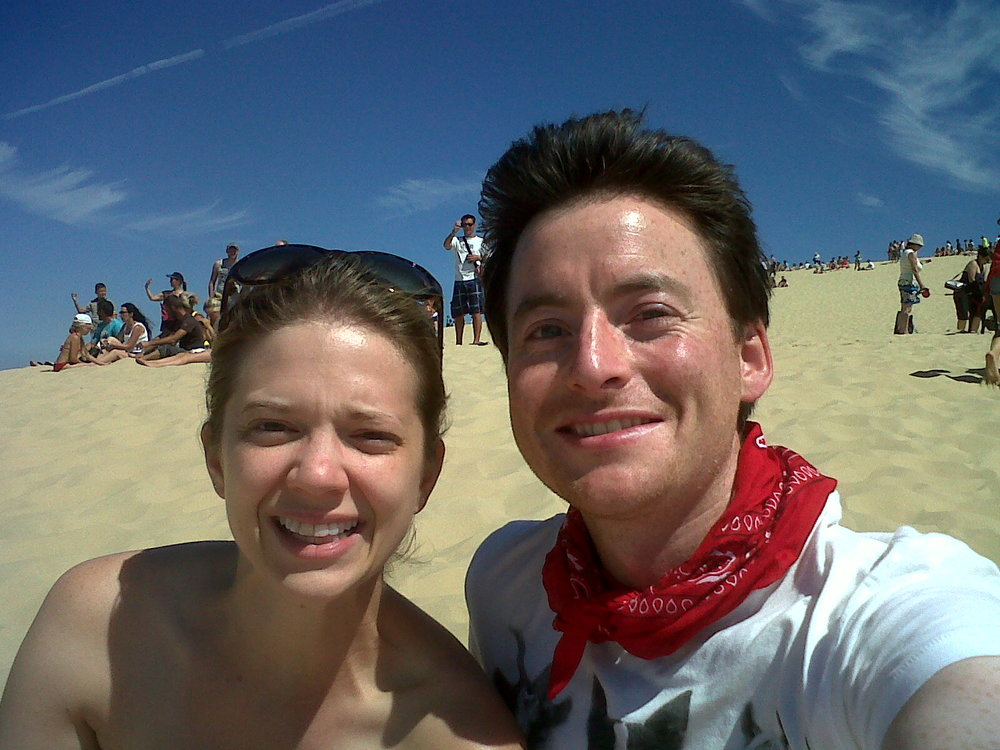one of the red, sweaty, windblown selfies on the Dune du Pilat (I am wearing a bathing suit!!!) :)