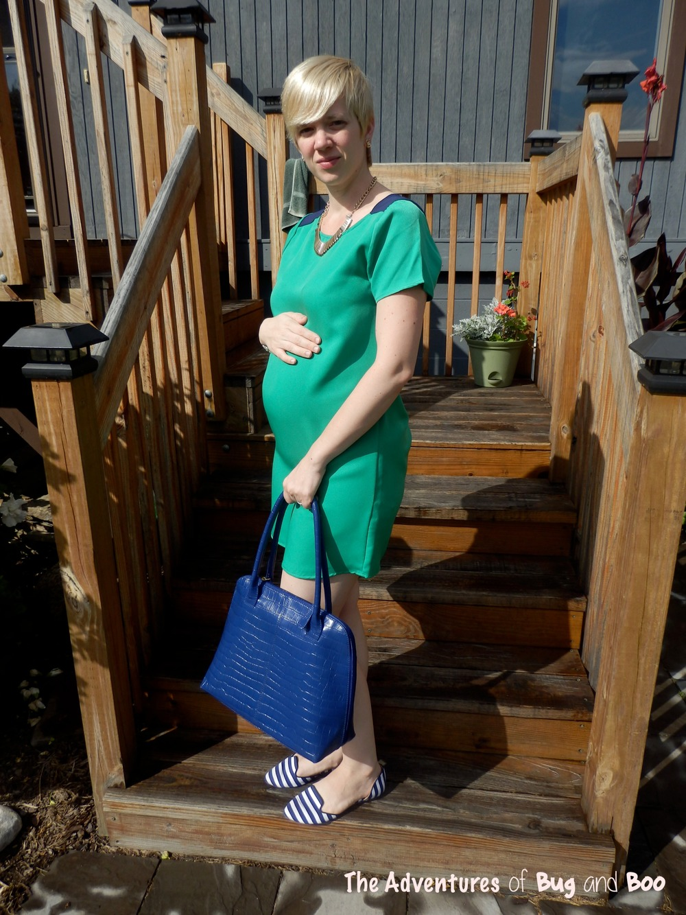 Color Blocked Dress, Blue Croc Print Tote, Striped Flats || Adventures of Bug and Boo