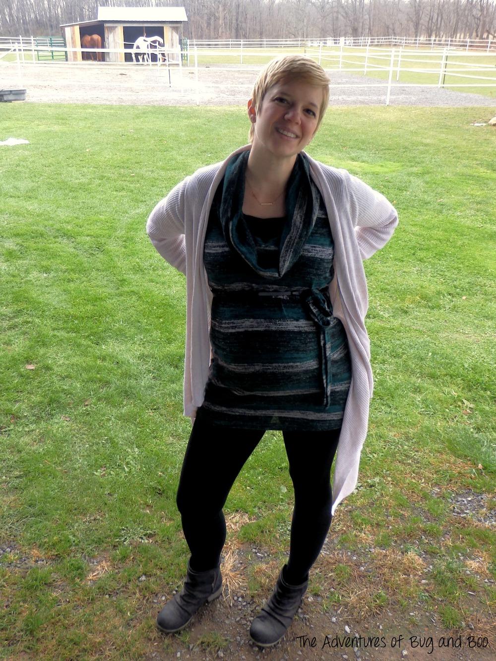 Tunic: Motherhood, old (similar)  Camisole: Motherhood   Leggings: H&M MAMA   Cardigan: Old Navy Maternity, old (similar)   Boots: Mia   Necklace: JustFab
