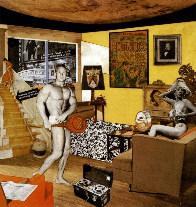 "Richard Hamilton, Just What Is It That Makes Today's Homes So Different, So Appealing?, 1956. Collage, 10.25 x 9.75""."