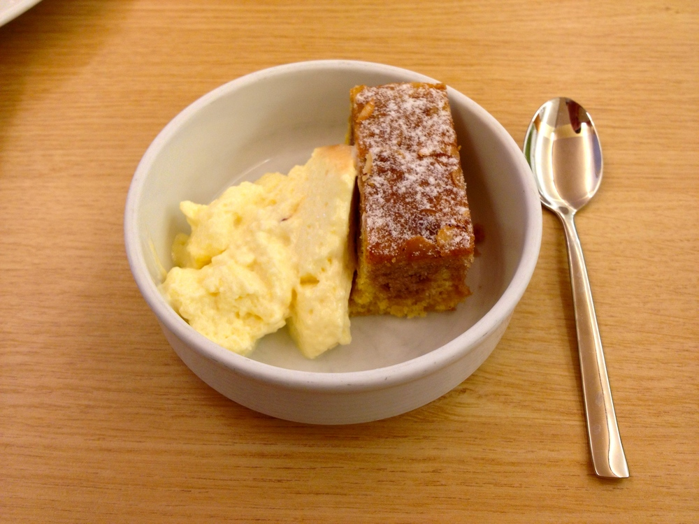 Dessert of custard and almond cake