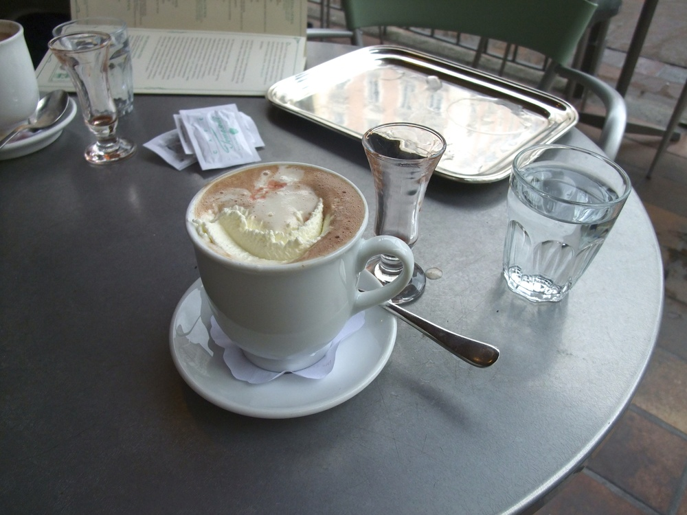 My hot chocolate from Café Tomaselli right after I poured in the rum