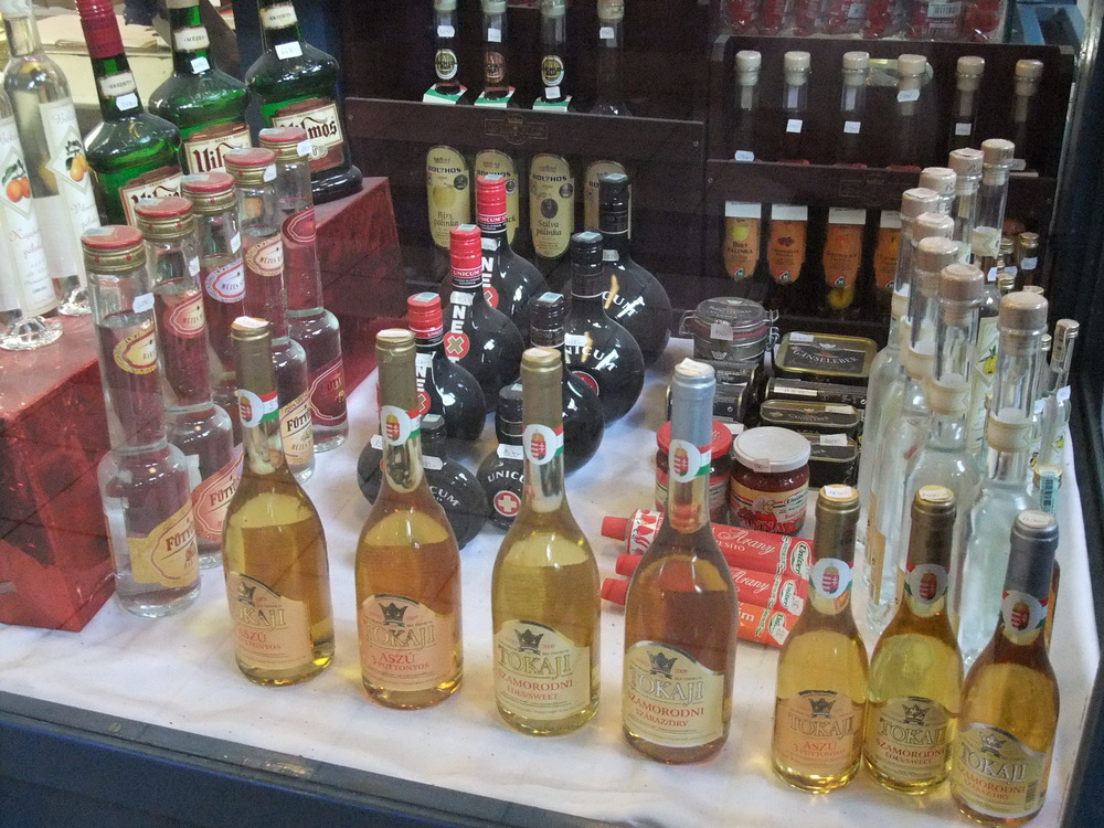 Display case of Tokaji inside the Great Market Hall