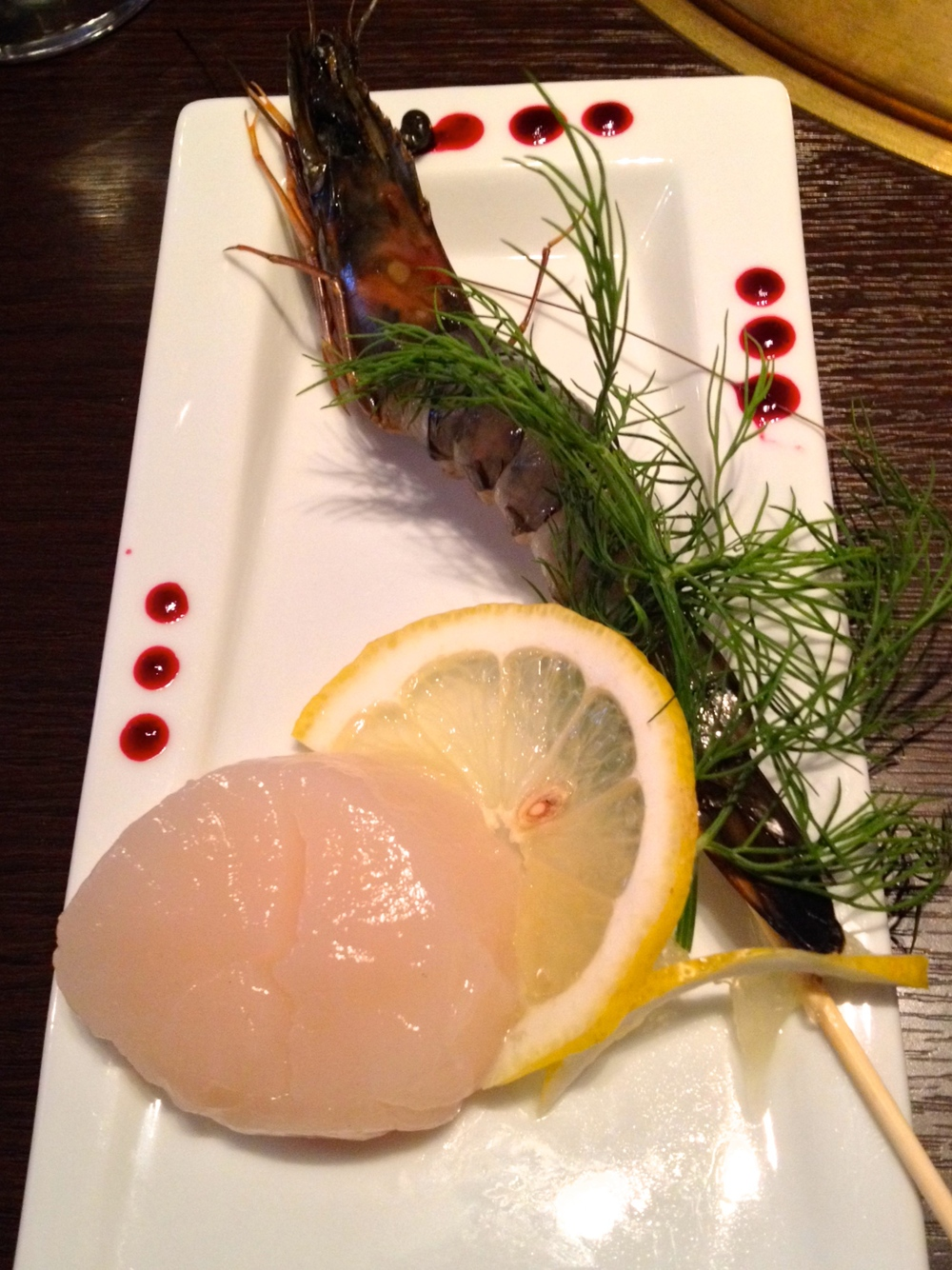 Scallop and black tiger shrimp