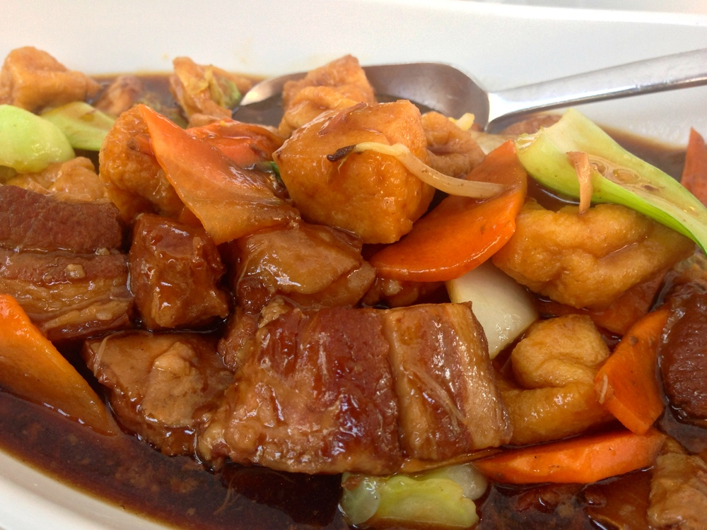 Pork belly with fried tofu