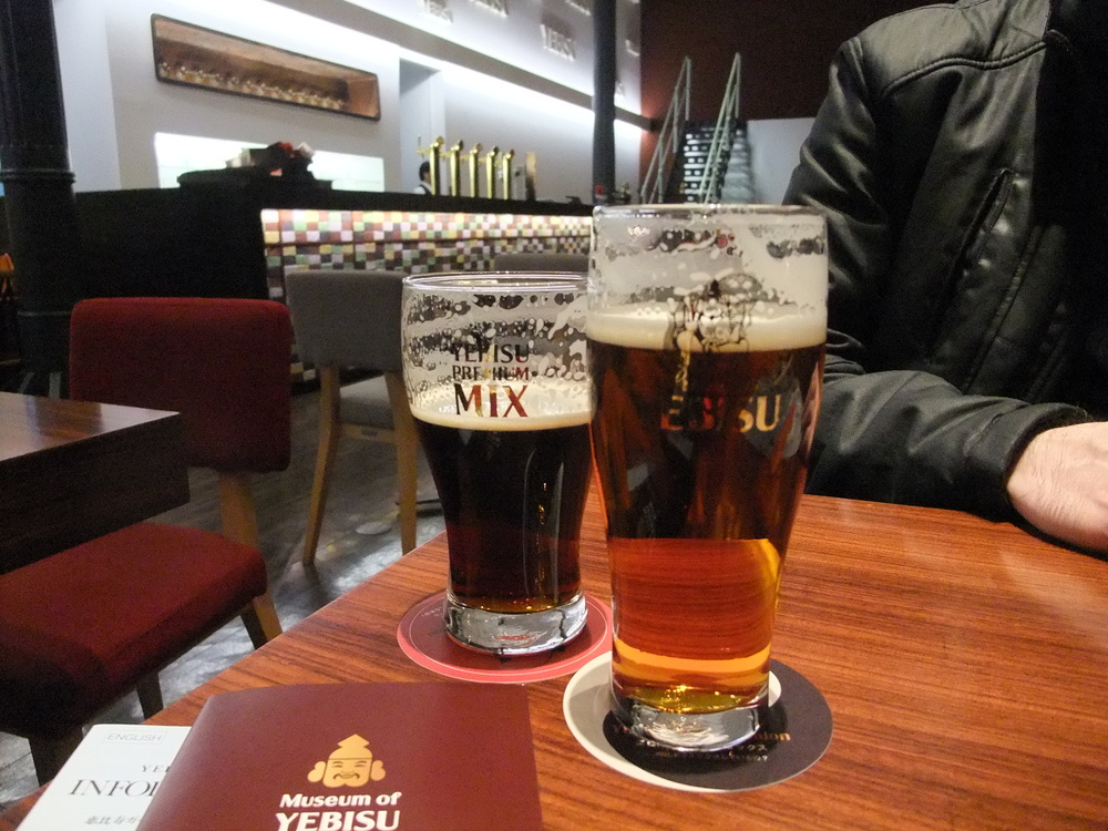 Tasting Yebisu beer