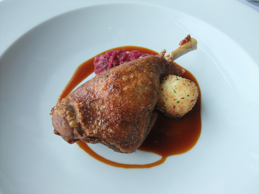 Duck confit brunch entrée  at the Park Hyatt Tokyo