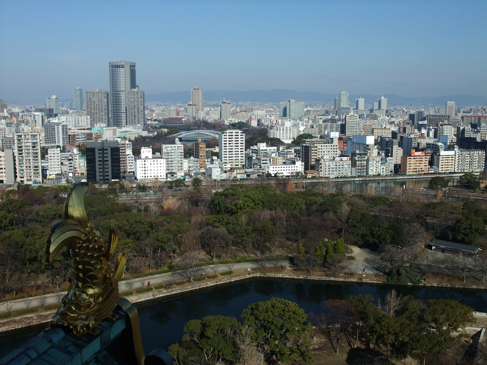 A view of Osaka from the castle