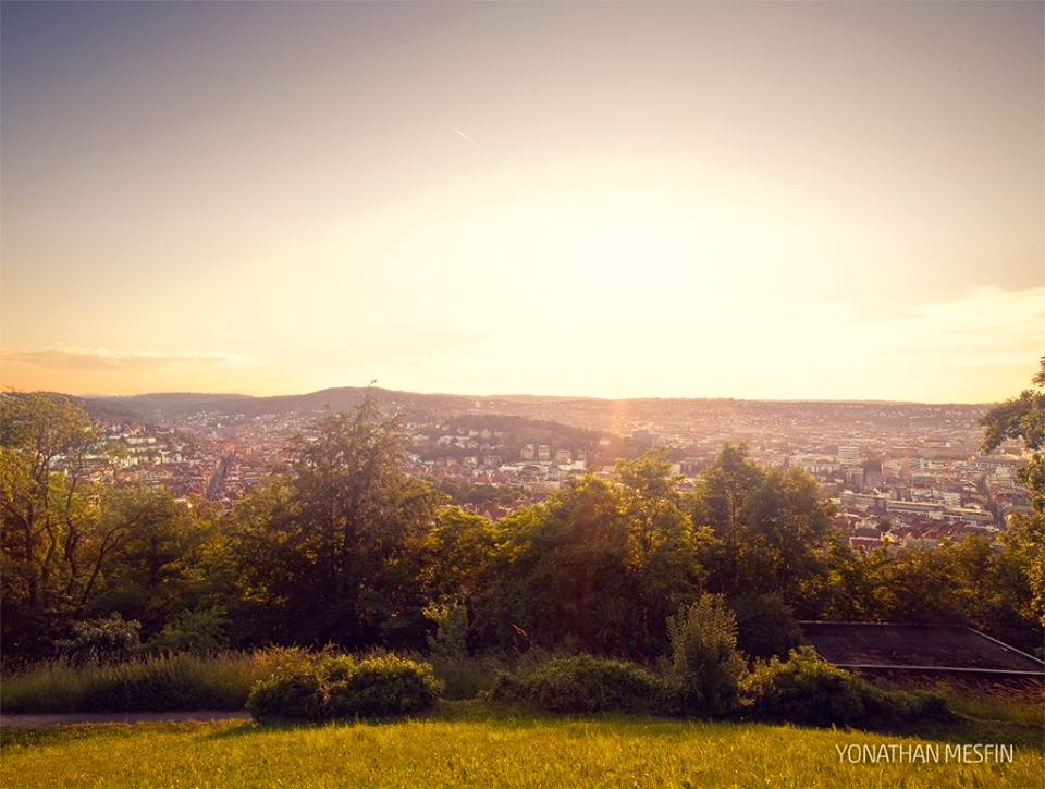 A view of the city at sunset taken from the Teehaus Facebook page