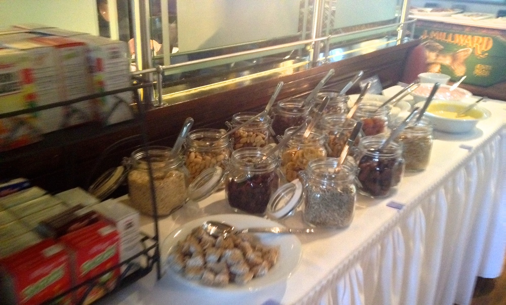 Cereal, milk, and yogurt buffet