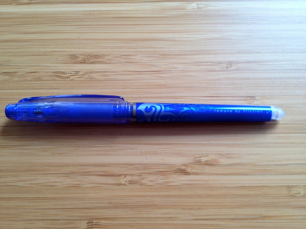 My sleek, blue Pilot FriXion erasable pen