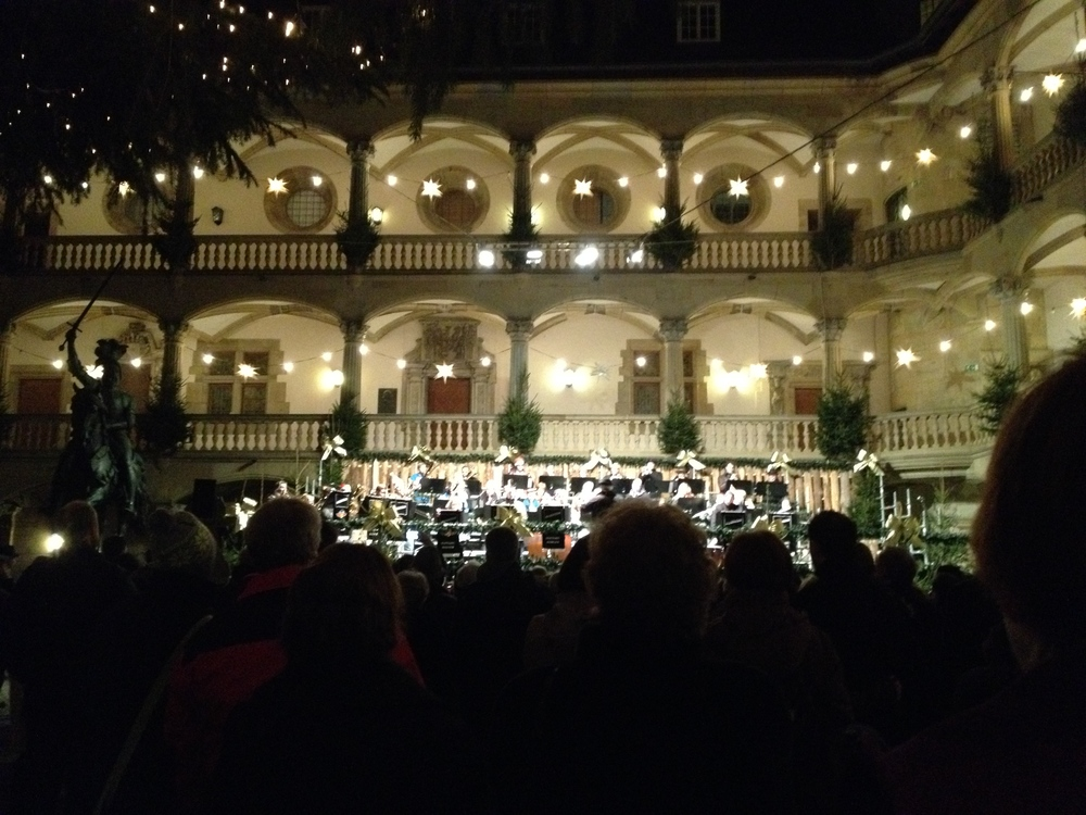 A band playing Christmas carols in Stuttgart's Altes Schloss
