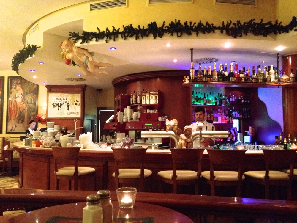 The restaurant's festive interior