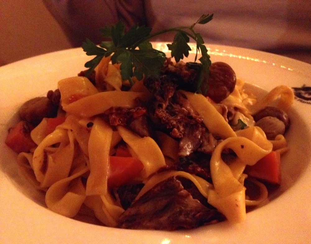 Matt's tagliatelle with shredded goose, chestnuts, and winter vegetables
