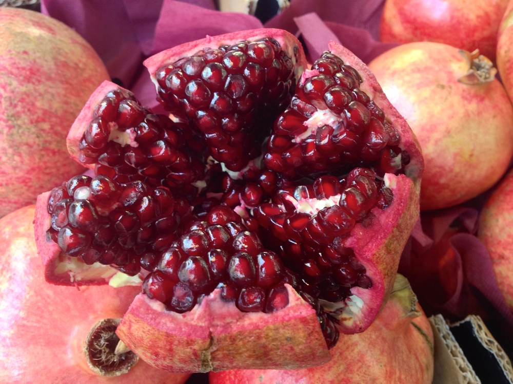 A beautiful pomegranate on display at the market