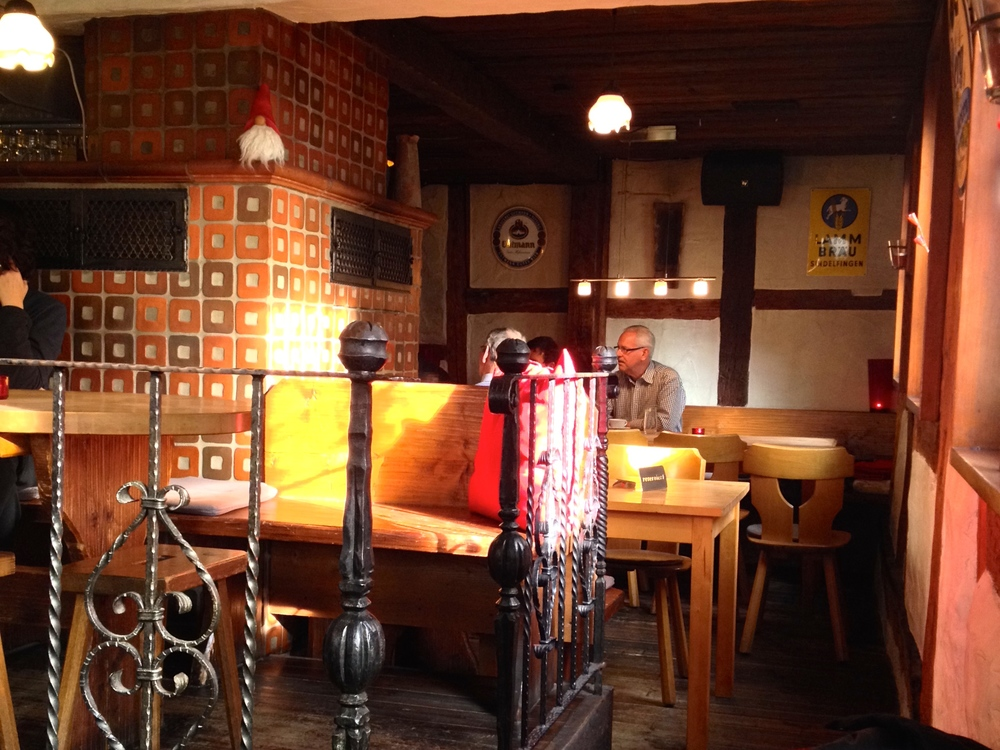 The cozy interior of  Gasthaus Lamm