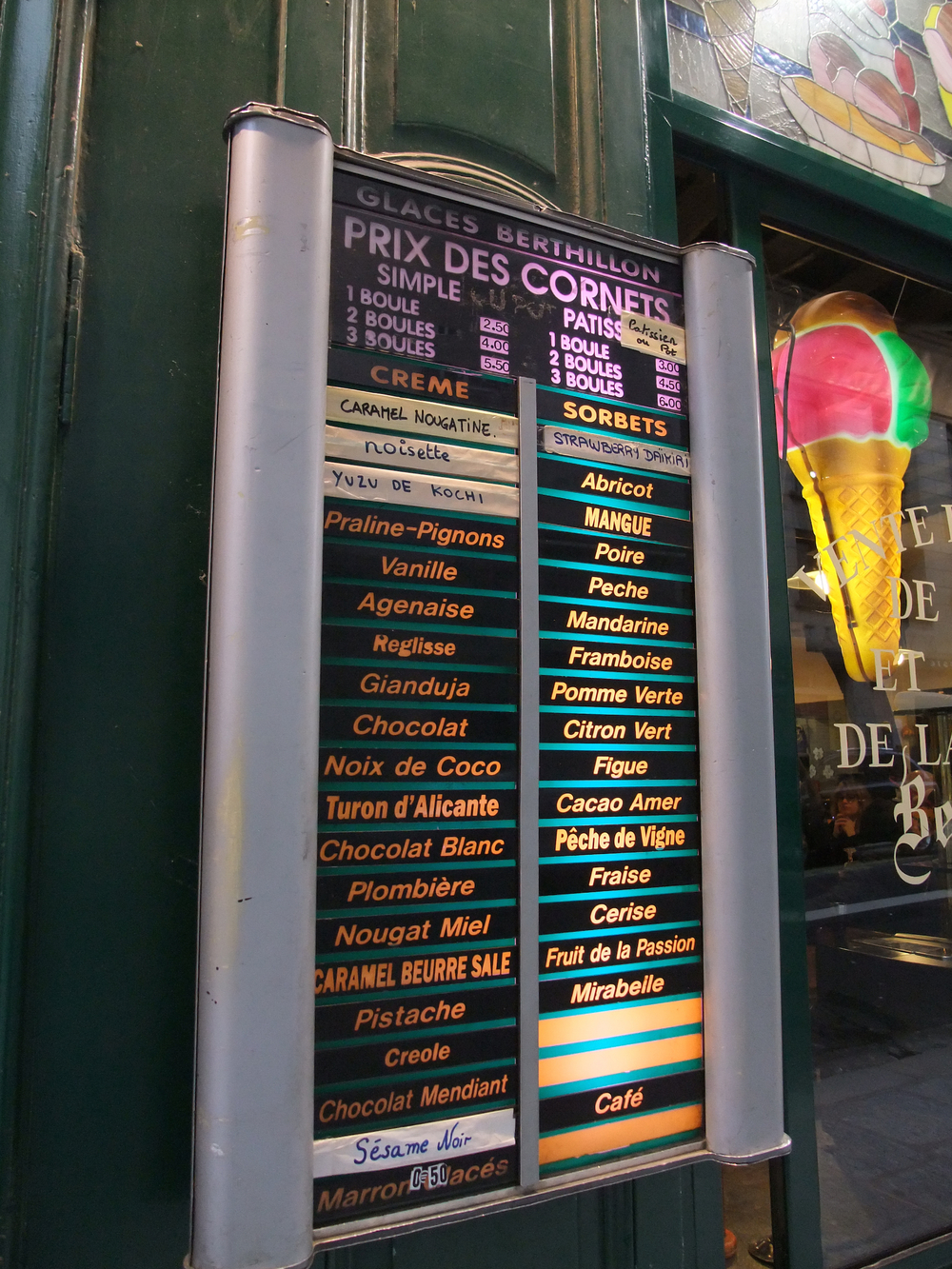 Ice cream flavors at  Maison Berthillon