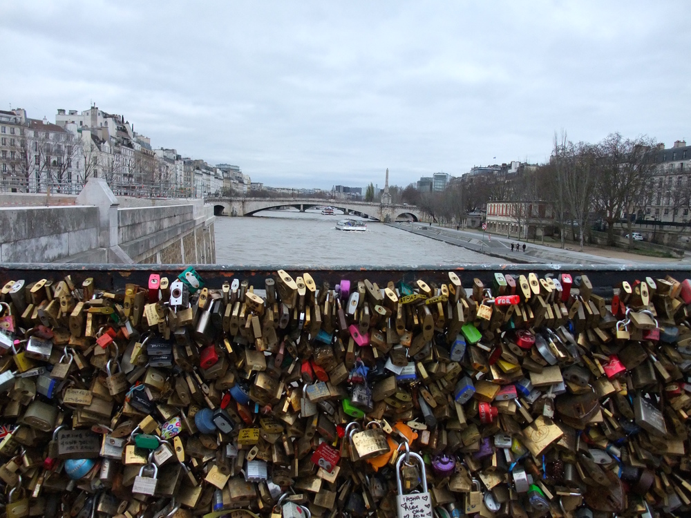 Love lock bridge across the  Seine