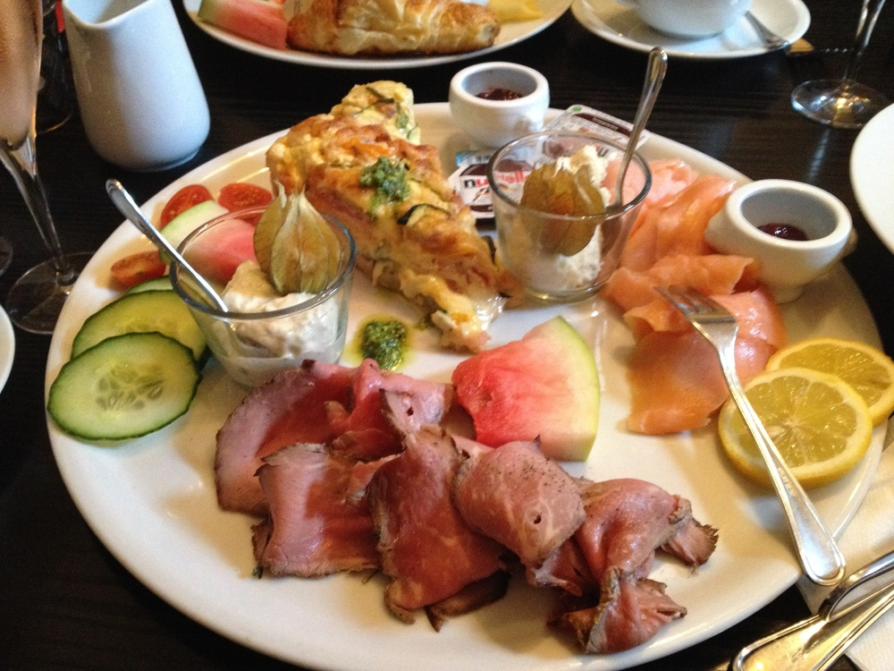 My favorite breakfast platter at  Academie  with quiche, roast beef, smoked salmon, fruit, and bread -- it easily feeds two people!