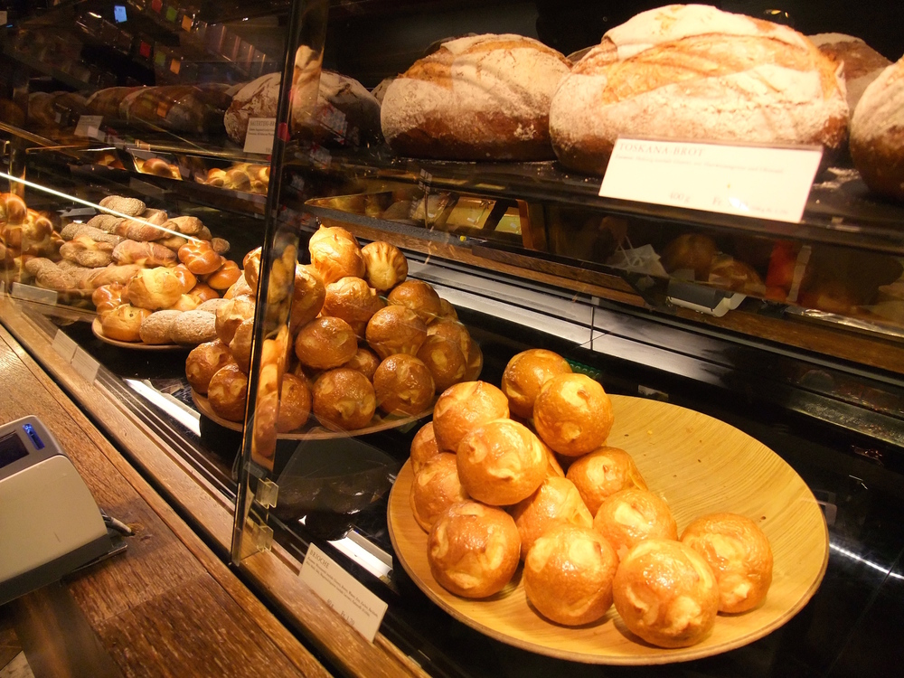 Freshly baked breads in Confiserie Sprüngli