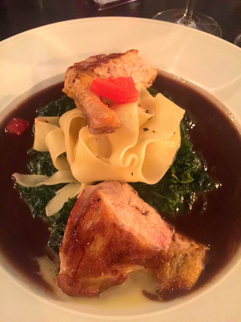 My Cornish hen with truffled spinach and pappardelle in a Port wine sauce