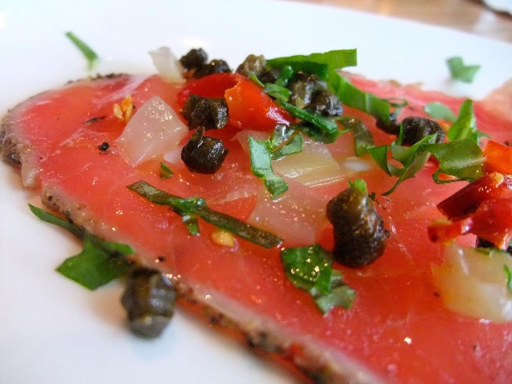 Tuna carpaccio at BellaBrava