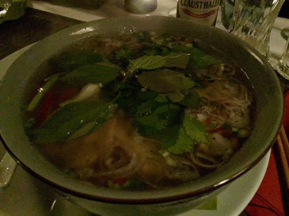 Pho made with beef broth and beef slices