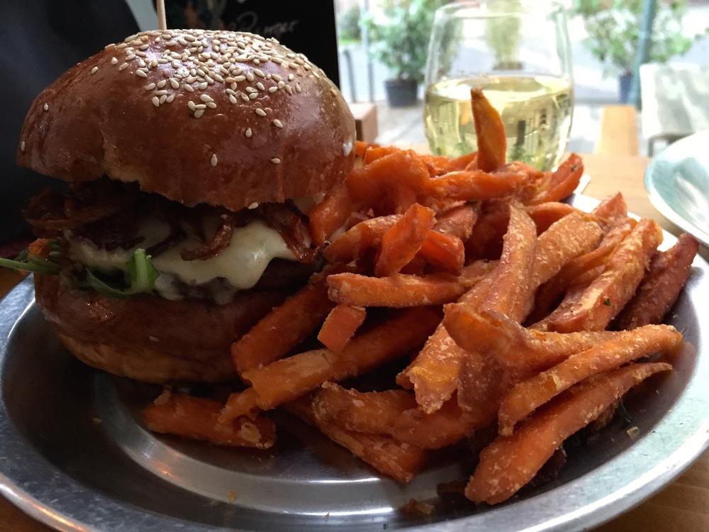 My special Cheese 'N' Onion burger with sweet potato fries