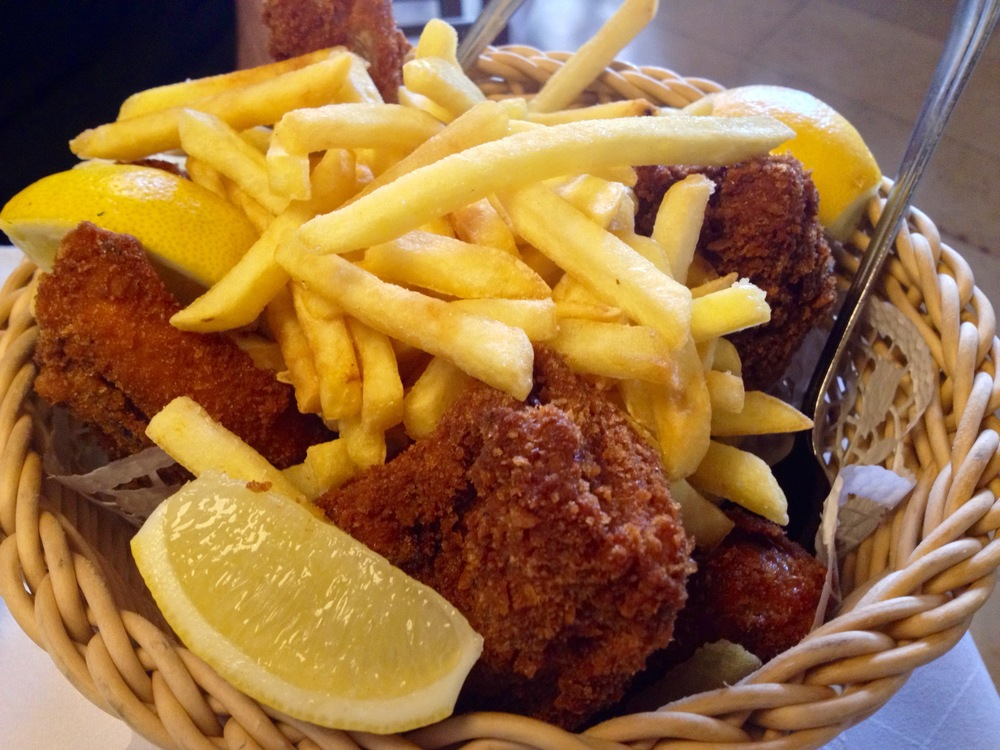 Cornmeal-fried chicken and french fry basket