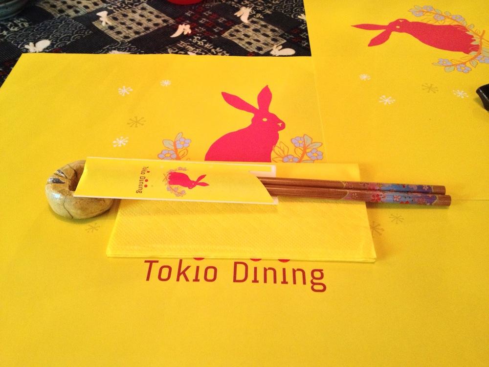 The rabbit-themed logo of the restaurant