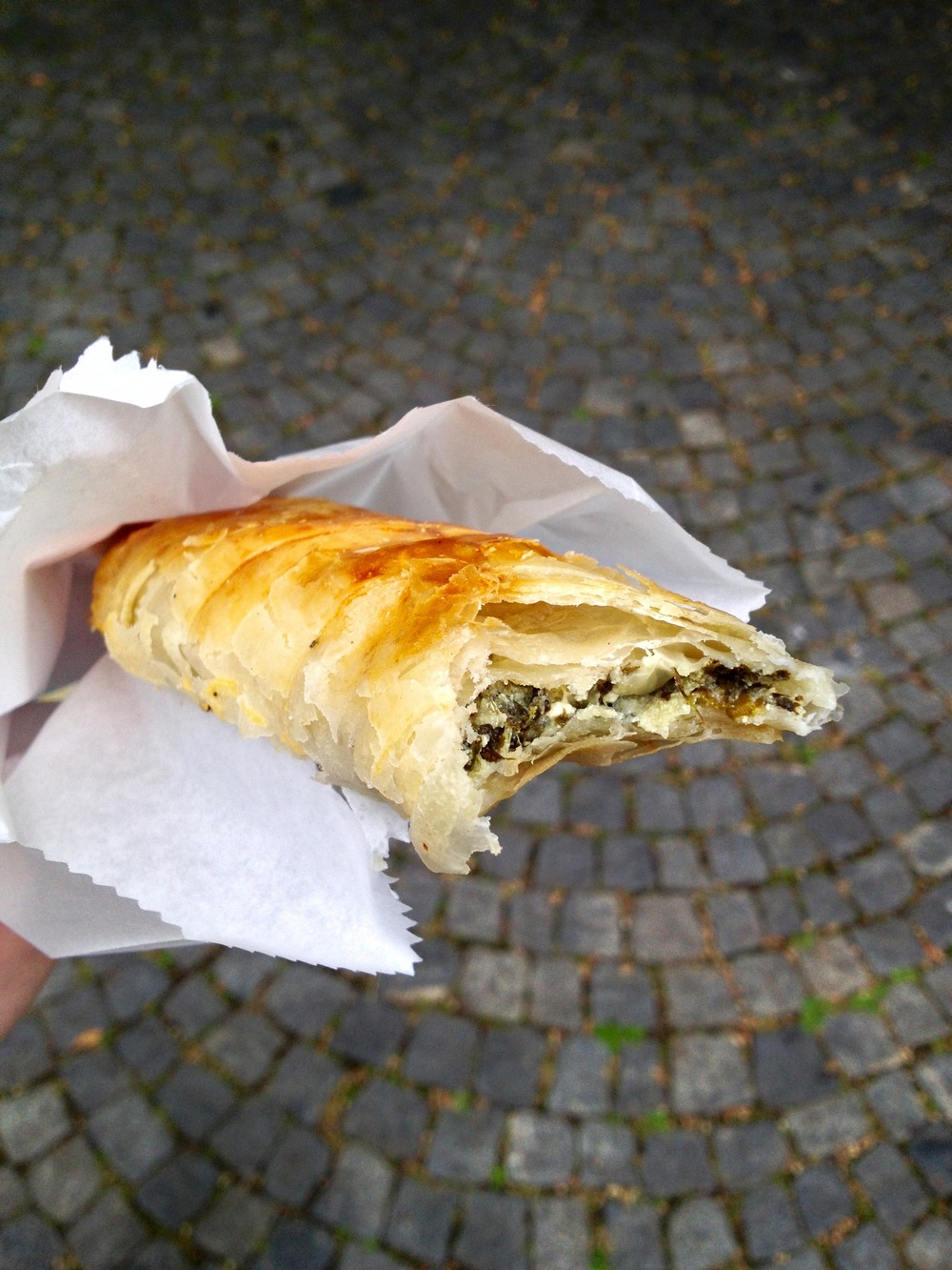 A spinach-filled, savory pastry