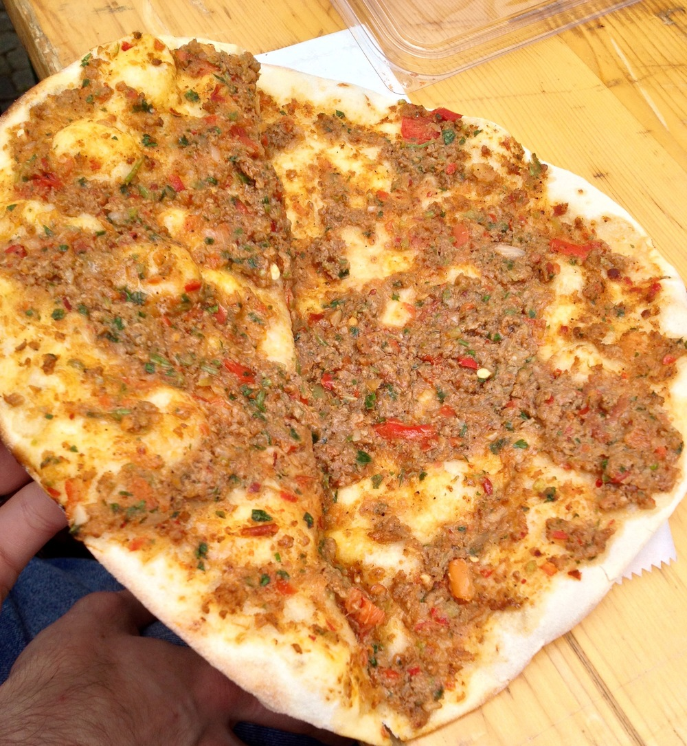 An inside shot of the  lahmacun