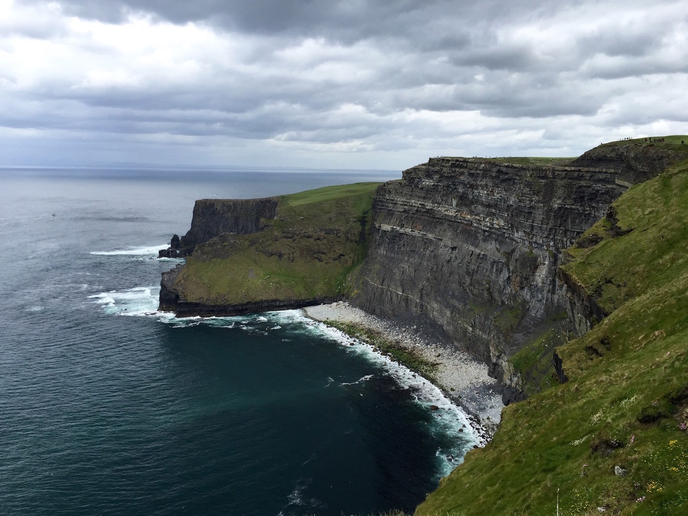 To the right of the Cliffs of Moher