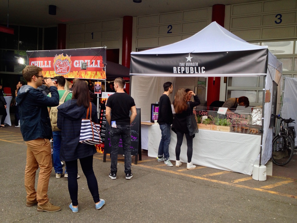 The Burger Republic tent with much shorter lines than at the first street food market