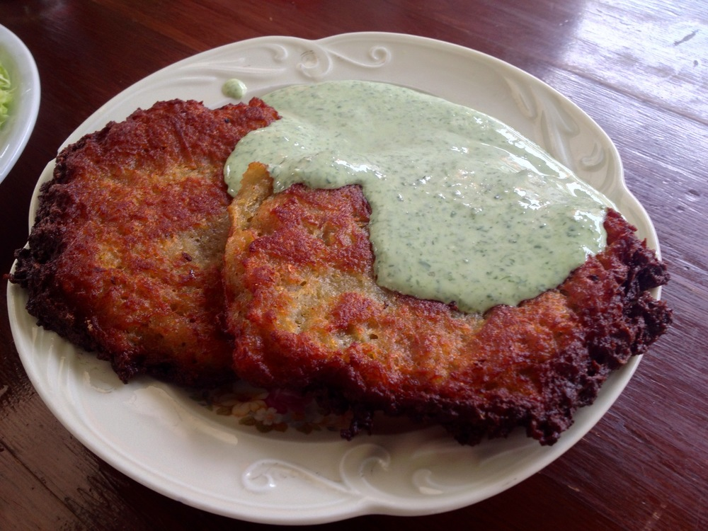 "Potato pancakes with ""green sauce"""
