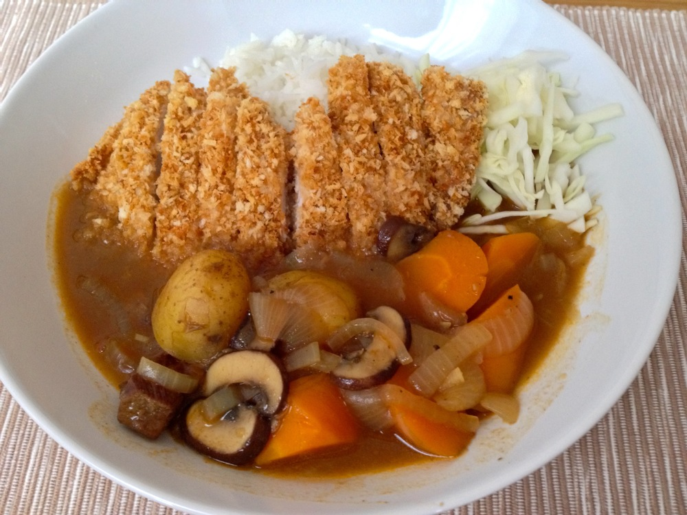 Japanese curry with baked tonkatsu (breaded pork)