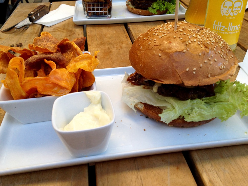 American BBQ burger with sweet potato chips