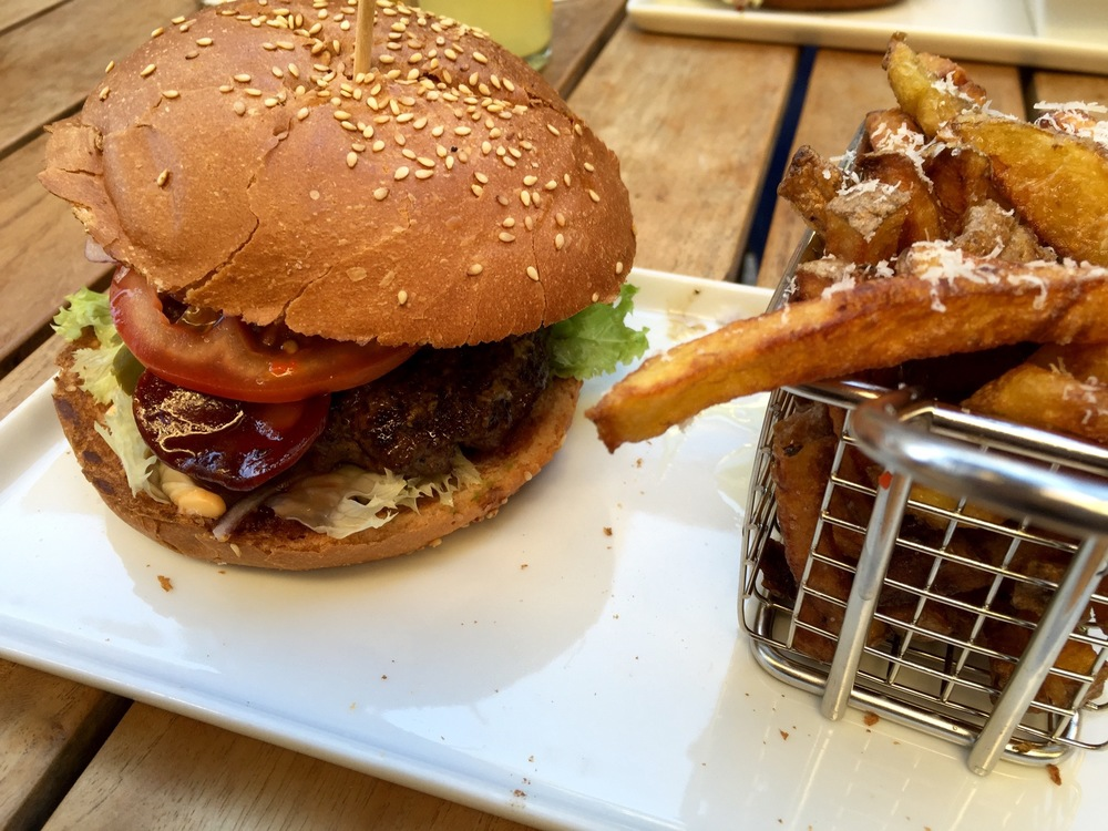 Los Cojones Mexicanos burger with parmesan-truffle fries