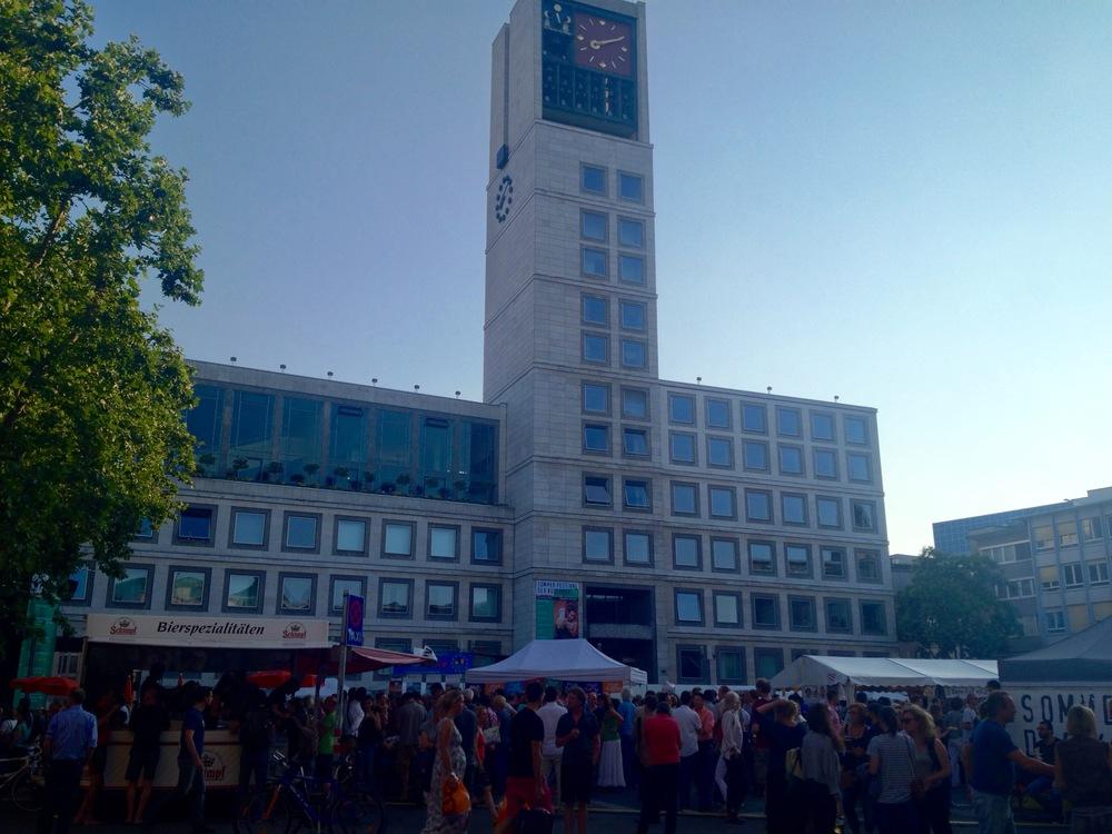 The  SommerFestival der Kulturen set up in front of the Stuttgart Rathaus