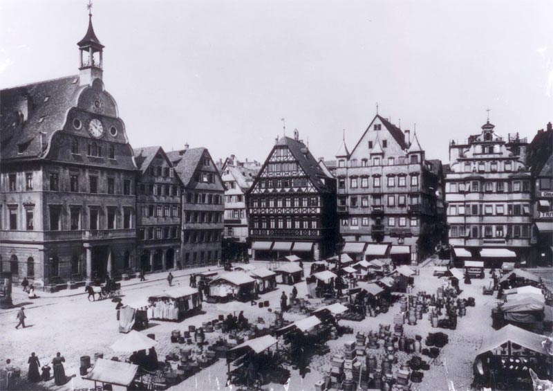 An picture of the market in 1889 (from the Stuttgarter Wochenmärkte website)