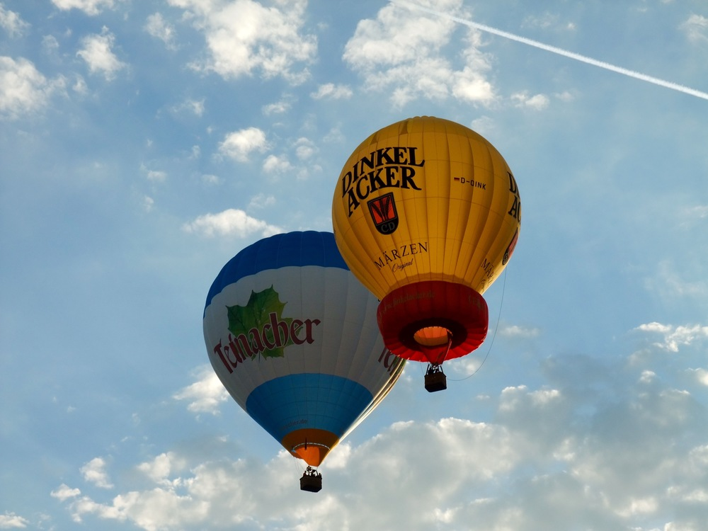 Hot air balloons setting off over Stuttgart from the  Sommerfest