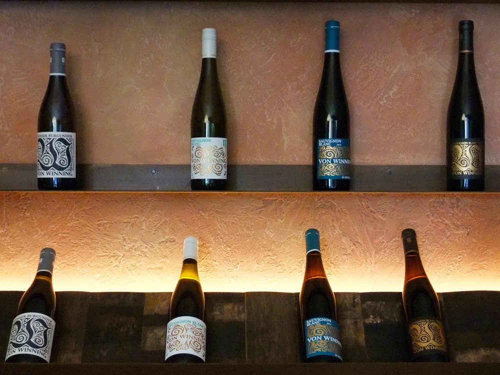 Shelves of  Von Winning  wines in the tasting room