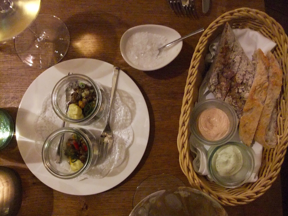 Homemade bread and spreads, plus an  amuse bouche